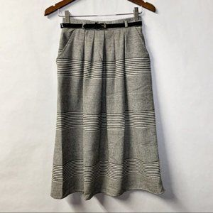 Vintage Pleated Wool Belted High Waist Midi Skirt